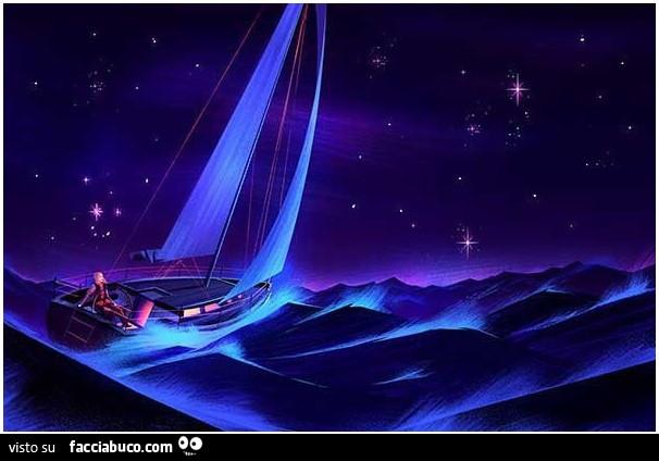 Barca In Mare Con Cielo Stellato Facciabucocom